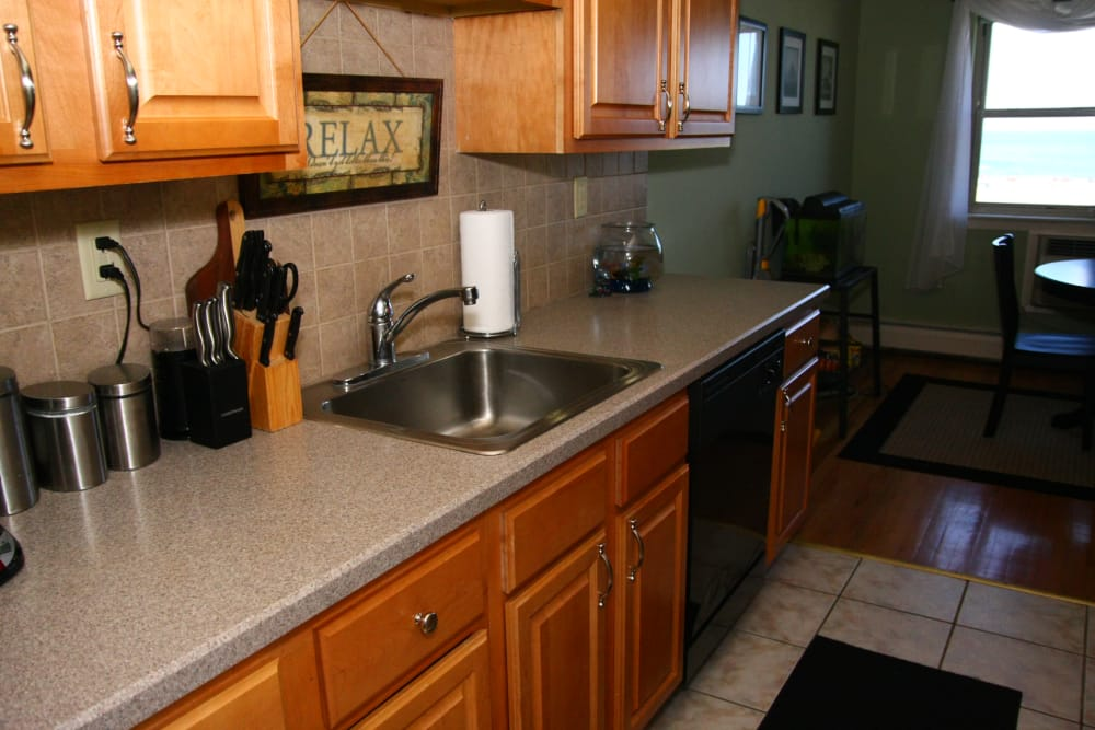 Ample counter space and stainless steel sink at Ocean Harbor Apartments