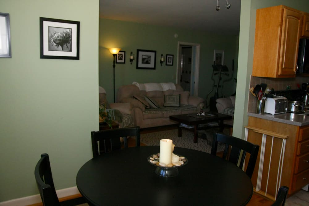 A dining area layout at Ocean Harbor Apartments