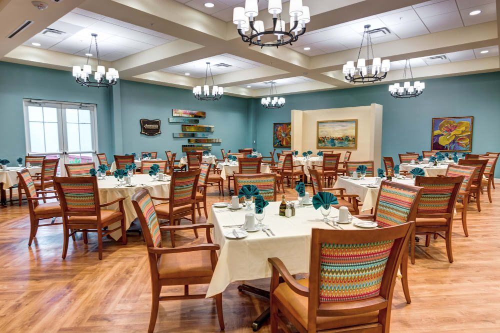 Spacious dining room at Symphony at Stuart in Stuart, Florida.