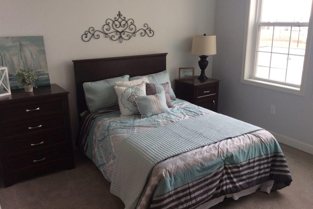 Senior apartment bedroom at Serenity in East Peoria, Illinois