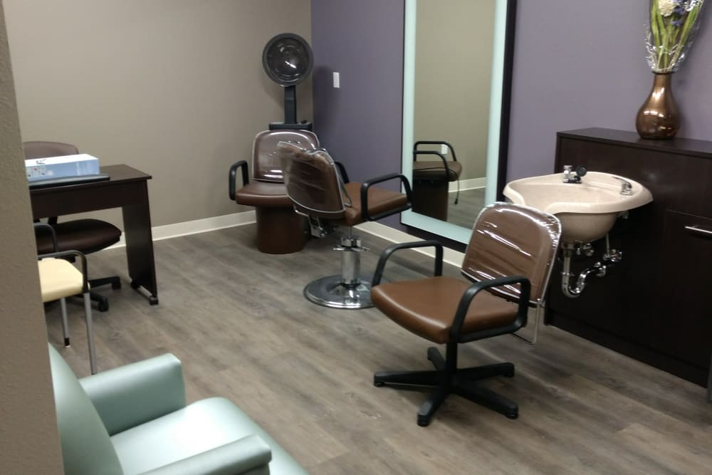 On site hair salon at Serenity in East Peoria, Illinois