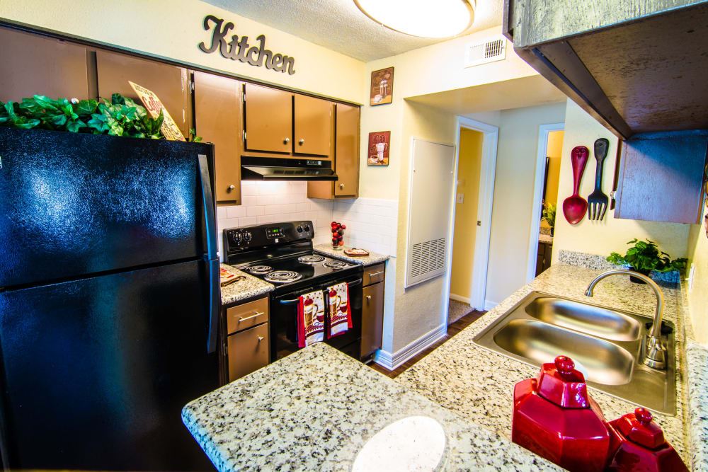 Our apartments in Baytown, Texas showcase a beautiful kitchen