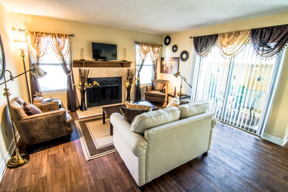 Sunlit living room at apartments in Baytown, TX
