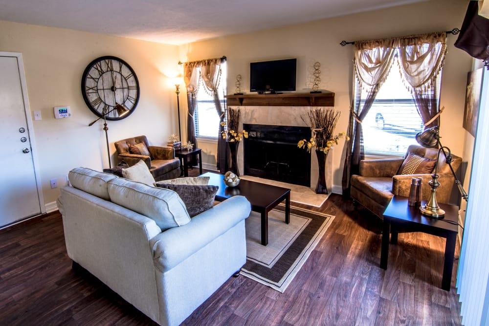 Cedar Ridge Apartments living room with hardwood floors