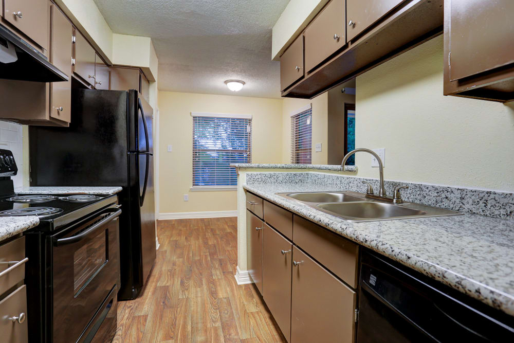 Renovated kitchen at apartments in Baytown, Texas