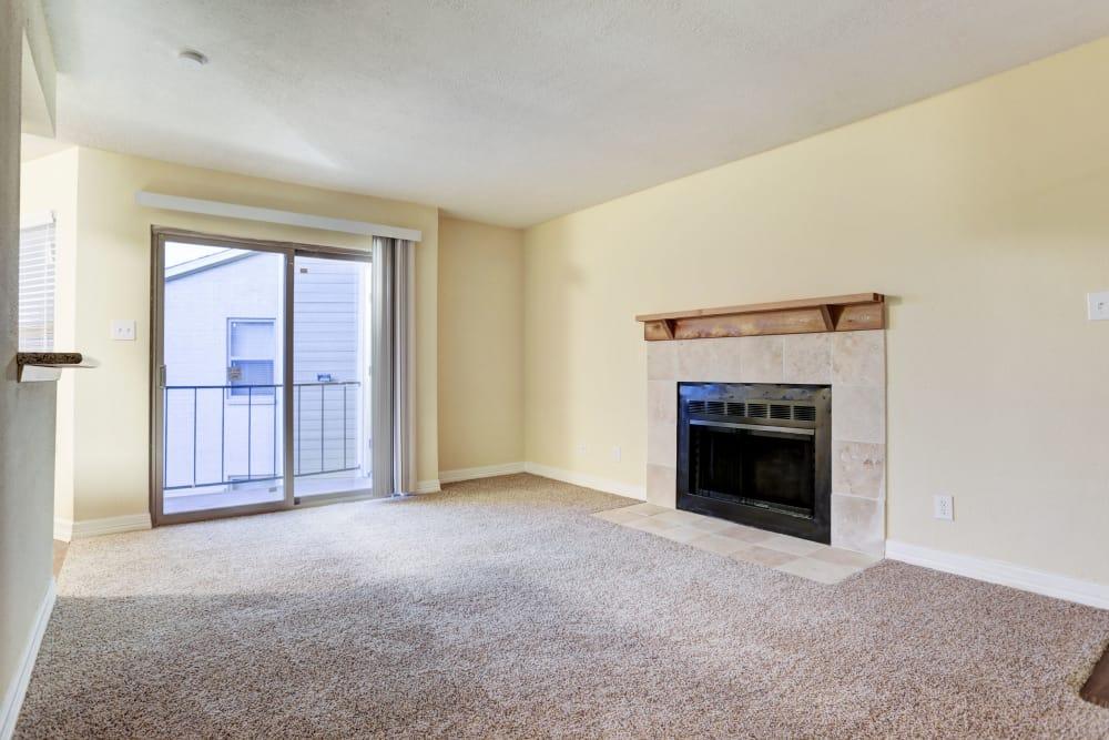 Vacant living room at Cedar Ridge Apartments