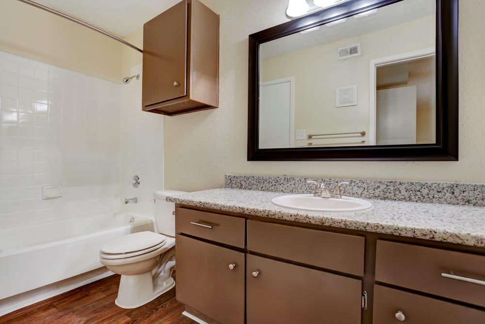 Cedar Ridge Apartments offers a renovated bathroom in Baytown, Texas