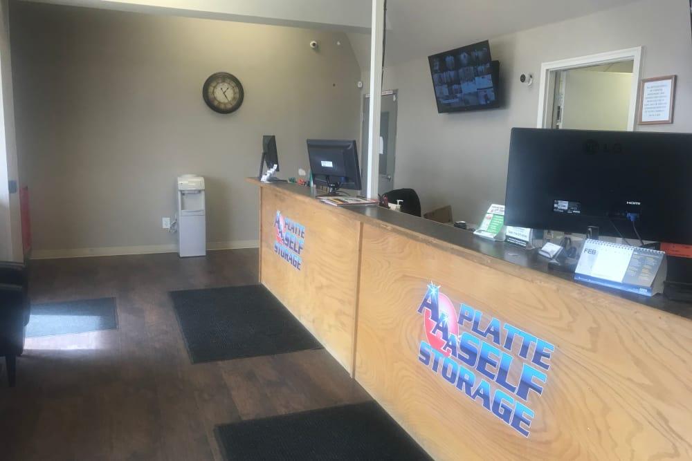 Front desk of AAA Platte Self Storage in Colorado Springs