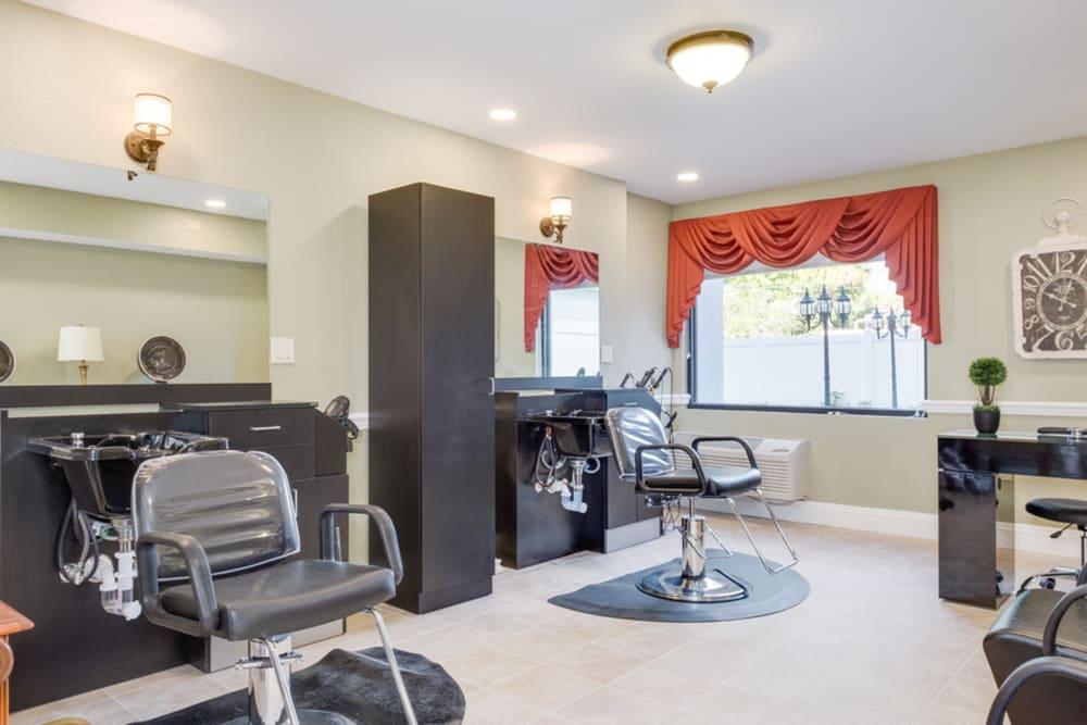 Salon and barbershop at Grand Villa of Boynton Beach in Florida