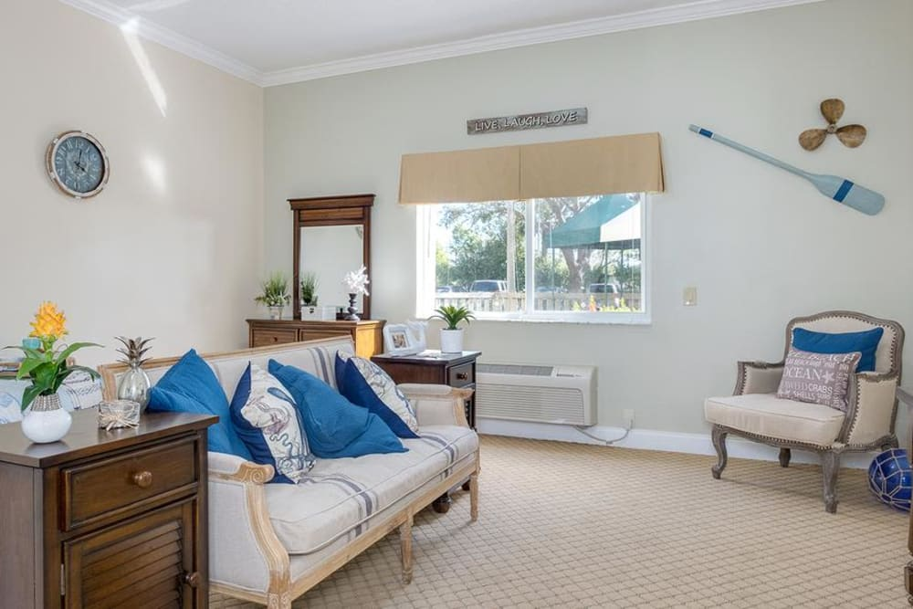 Living room model at Grand Villa of Deerfield Beach in Florida