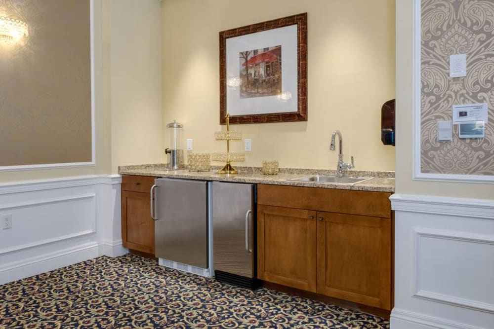 Beverage station at Grand Villa of Delray West in Florida