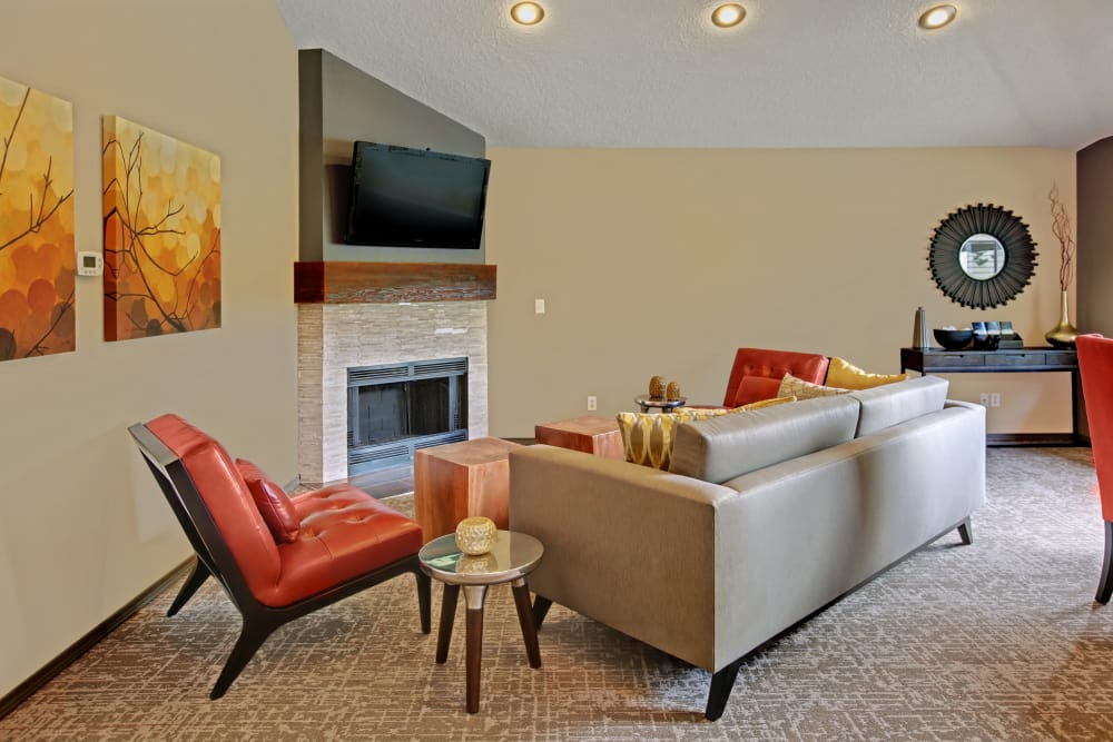 Living room in apartments at Jasper Square Apartment Homes in Beaverton, OR