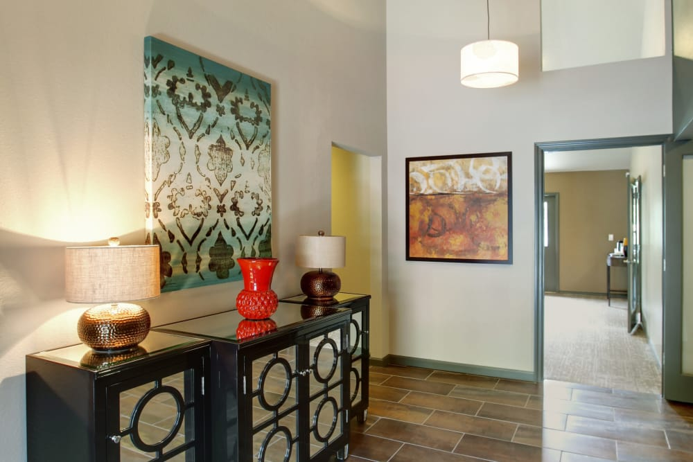Front entry to Jasper Square Apartment Homes in Beaverton, OR