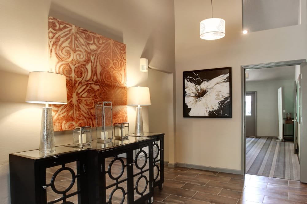 Front entry area in apartments at Jasper Place in Beaverton, OR