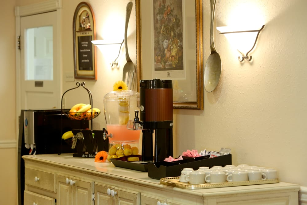 Coffee and snack bar at Azalea Estates of Monroe in Monroe, Louisiana.