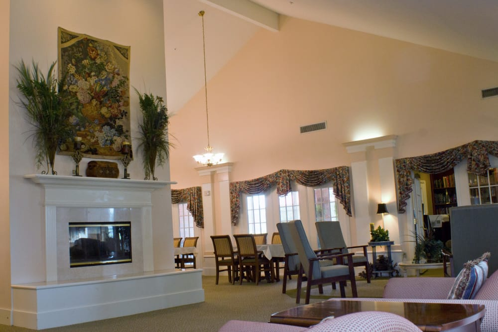 Open fireplace area and Living room at  in Monroe, Louisiana