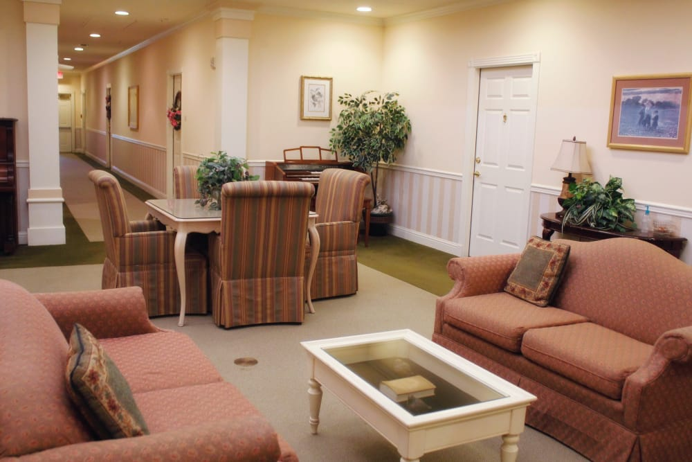 Shared community living room and gathering place at Azalea Estates of Monroe in Monroe, Louisiana