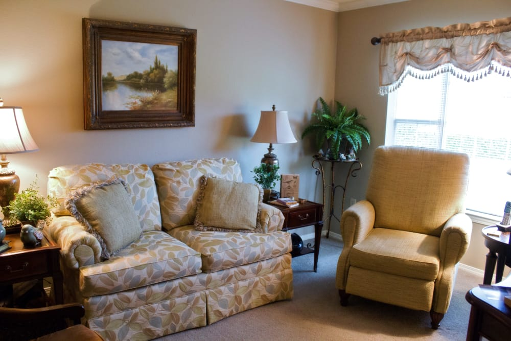 Model living room at Azalea Estates of New Iberia