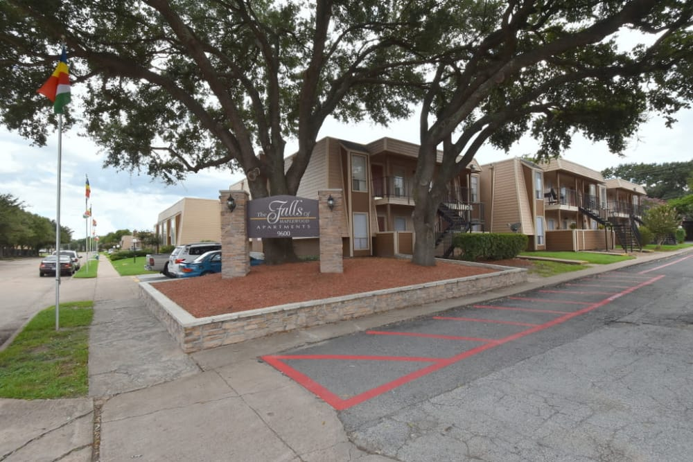 Exterior view of our office at Falls of Maplewood Apartments in Houston, TX