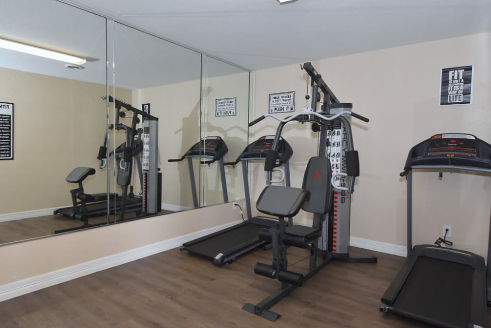 Enjoy apartments with a modern fitness center at Palms at Chimney Rock Apartments