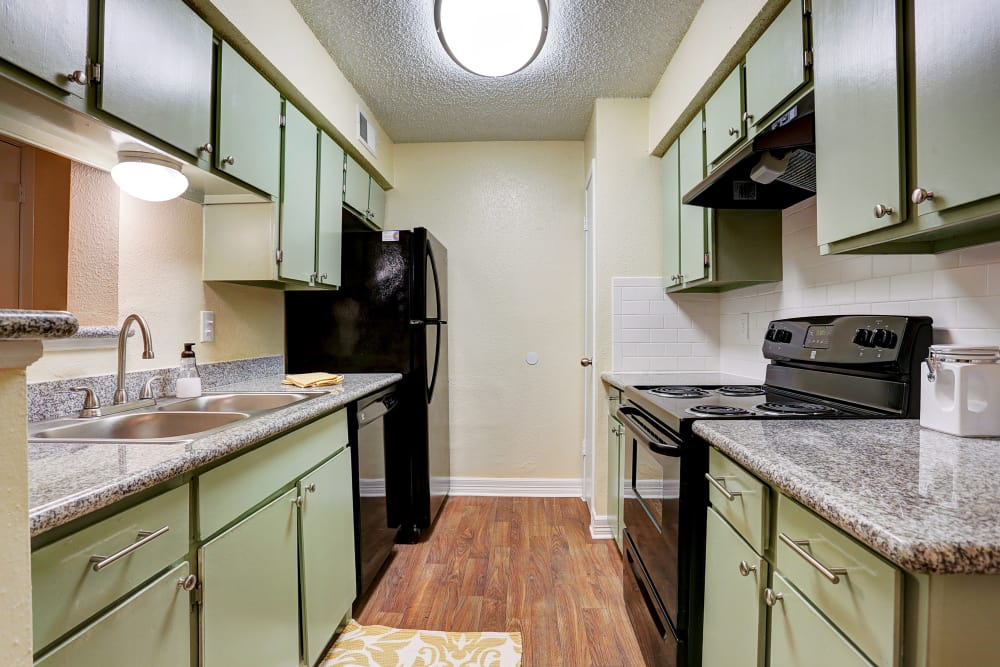 Upgraded kitchen at Westwood Village Apartments  in Rosenberg, Texas
