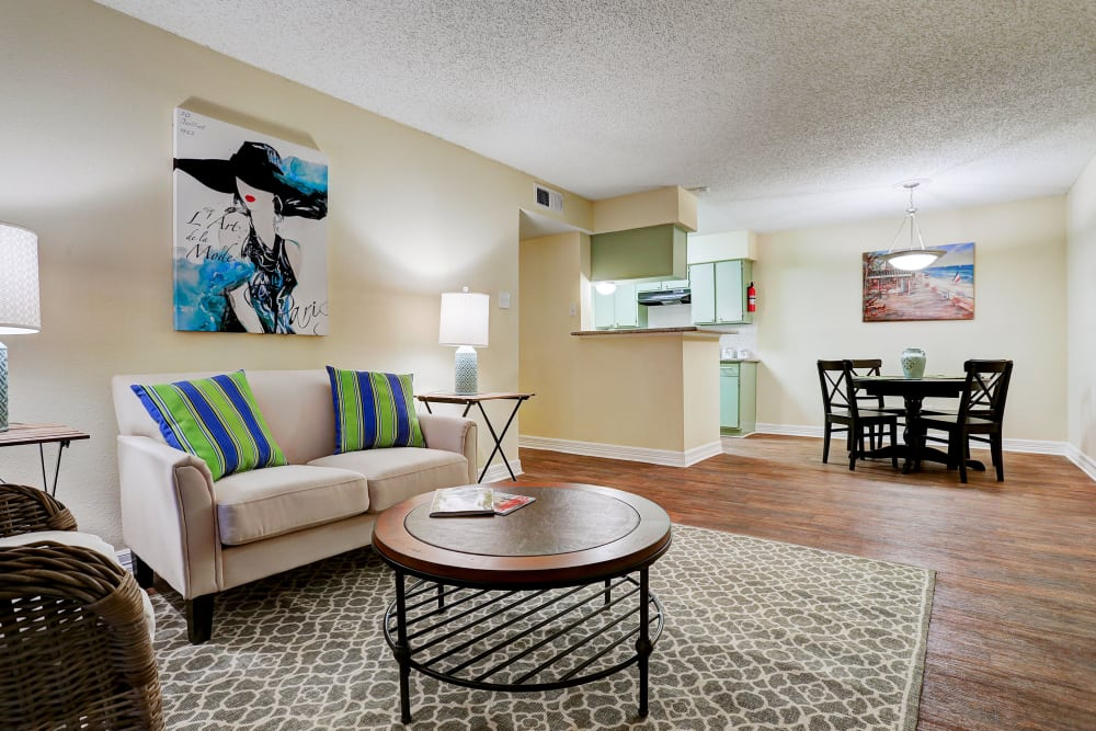 Well-appointed living room at Westwood Village Apartments  in Rosenberg, Texas