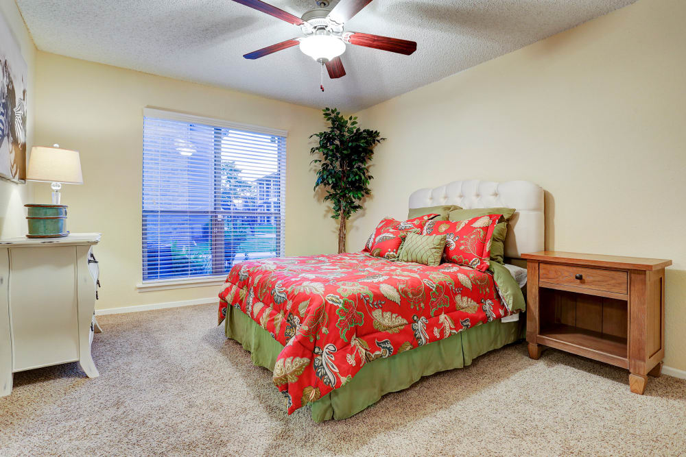 Spacious Bedroom At Westwood Village Apartments In Rosenberg, Texas