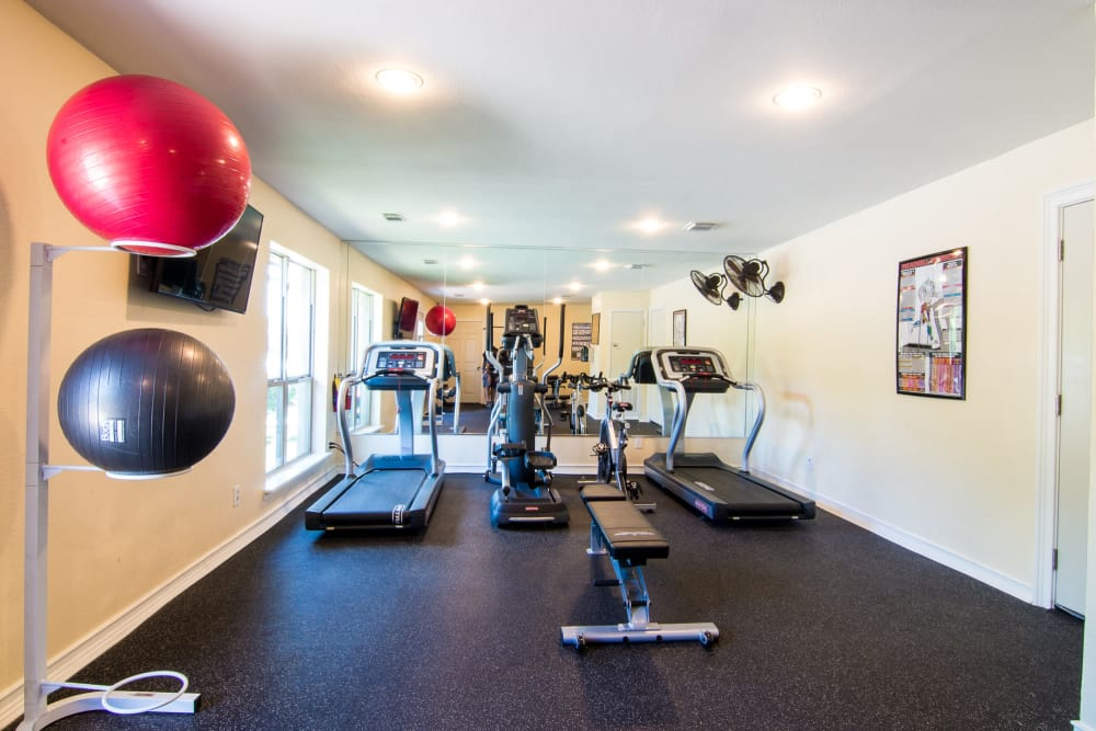 Newly updated fitness center at Westwood Village Apartments in Rosenberg, Texas