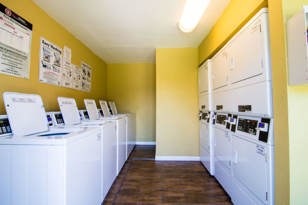 Spacious laundry facility at apartments in Rosenberg, Texas
