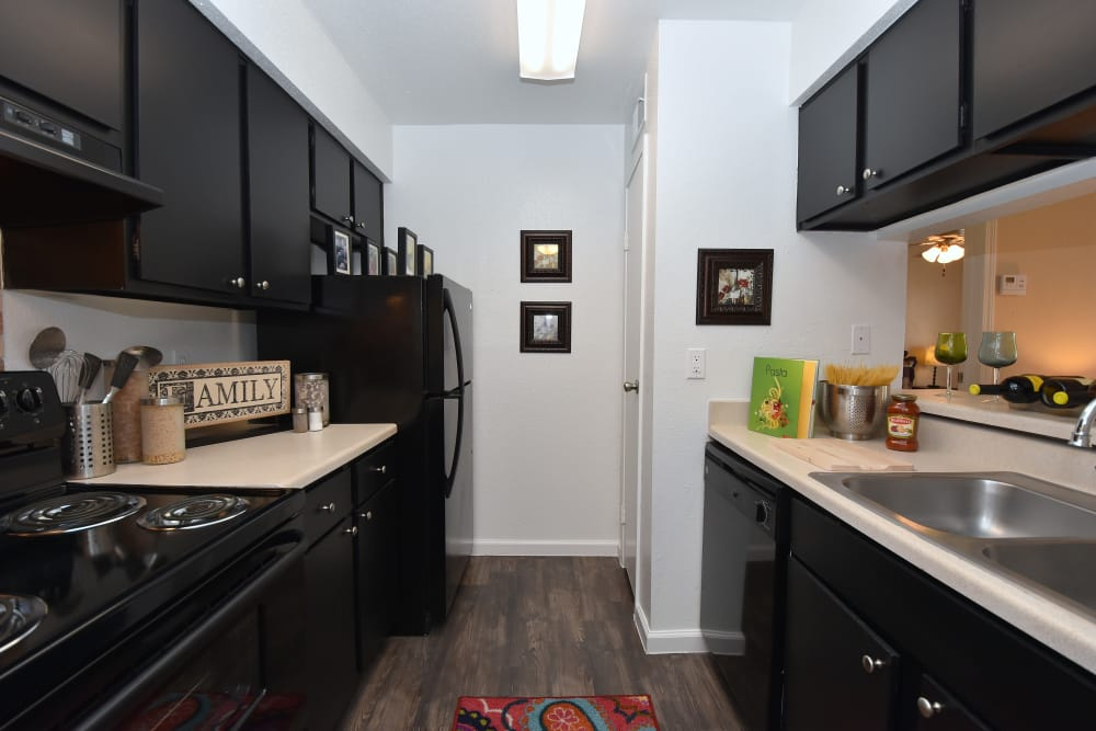 Renovated kitchen at Park at Deerbrook Apartments in Humble, Texas