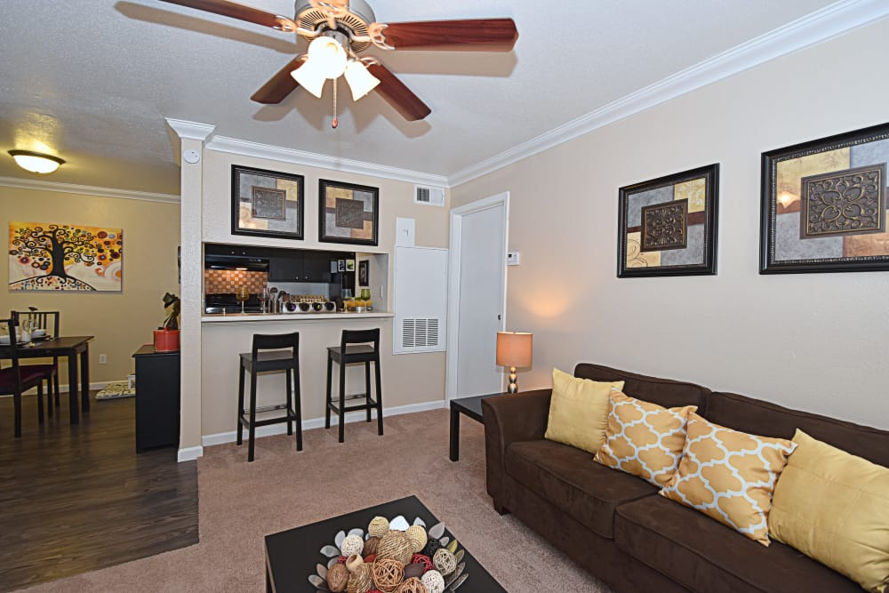 Living room at Park at Deerbrook Apartments in Humble, Texas