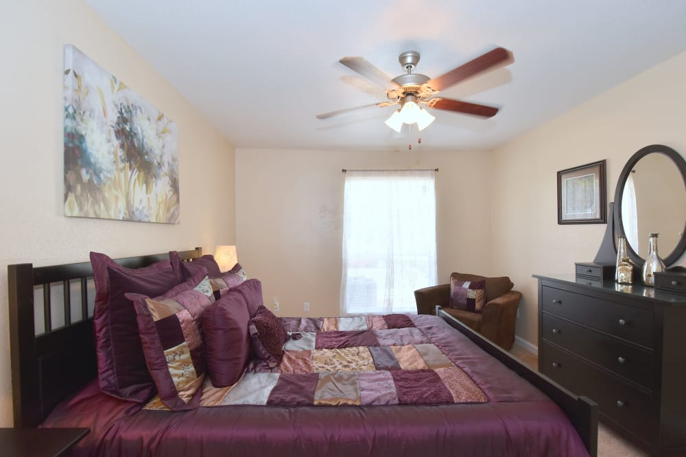 Bedroom at apartments in Humble, Texas