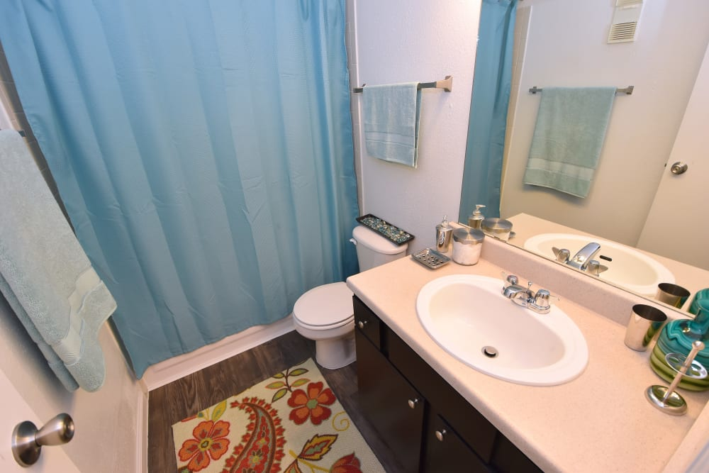 Renovated bathroom at apartments in Humble, Texas