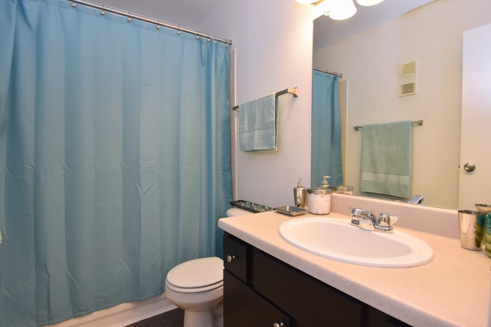 Newly updated bathroom at Park at Deerbrook Apartments in Humble, Texas