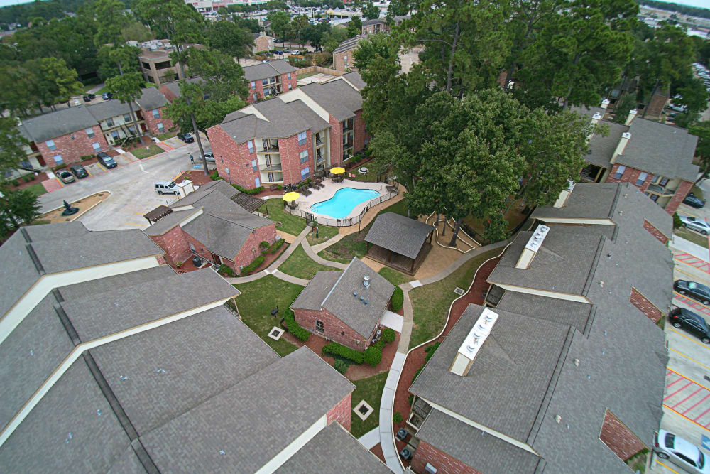 Park at Deerbrook Apartments drone view in Humble, TX