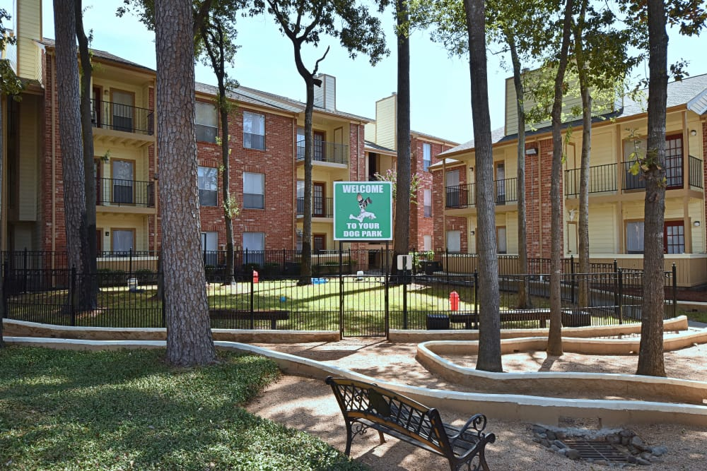 Park at Deerbrook Apartments offers an on-site dog park in Humble, Texas