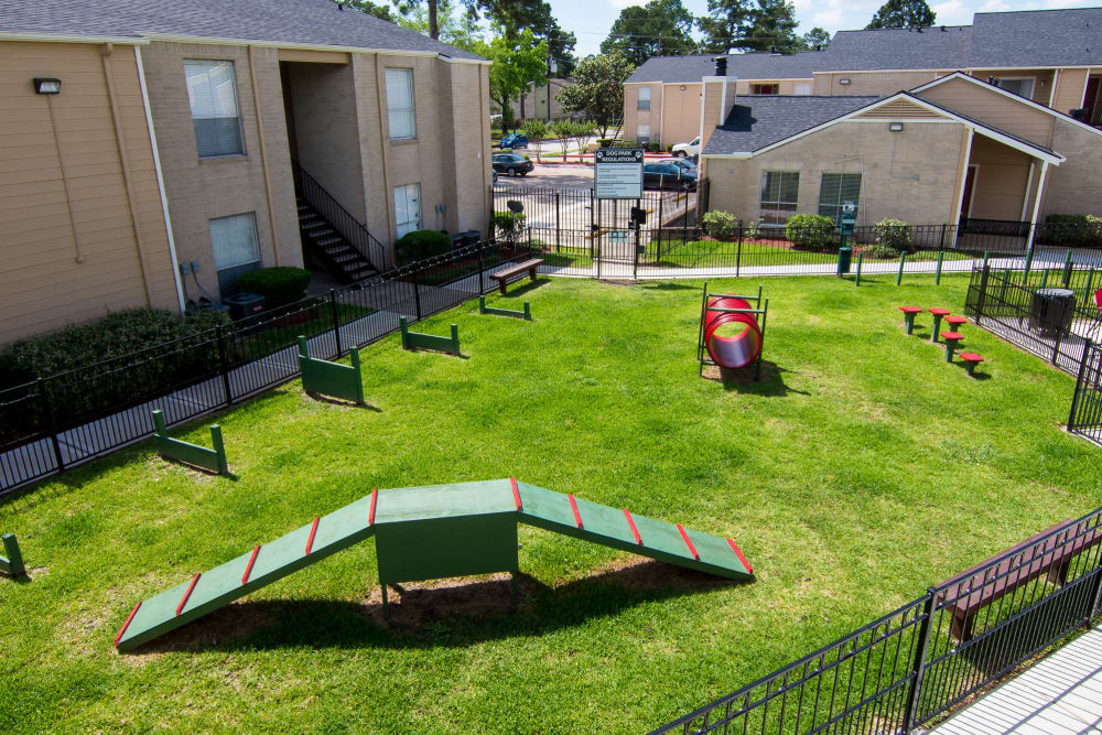 Dog park at Bender Hollow Apartments in Humble, TX