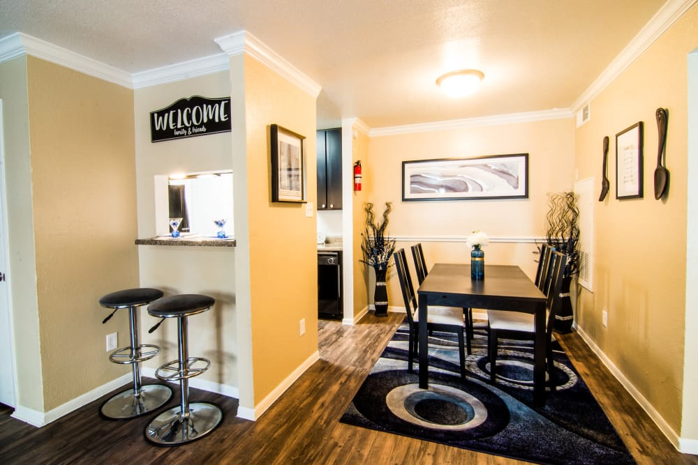 Dining room and breakfast bar at Bender Hollow Apartments in Humble, TX
