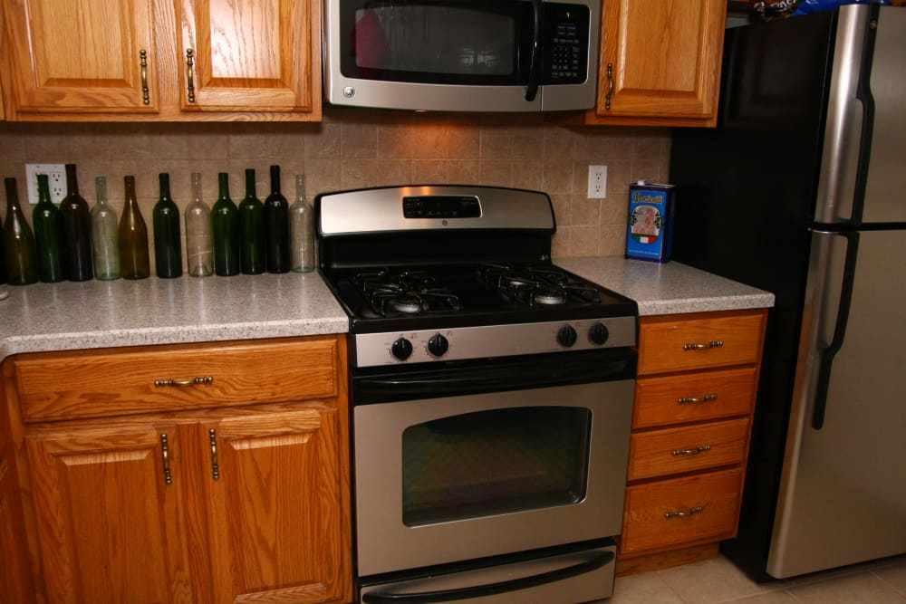 Stainless steel stove at Jackson House Apartments