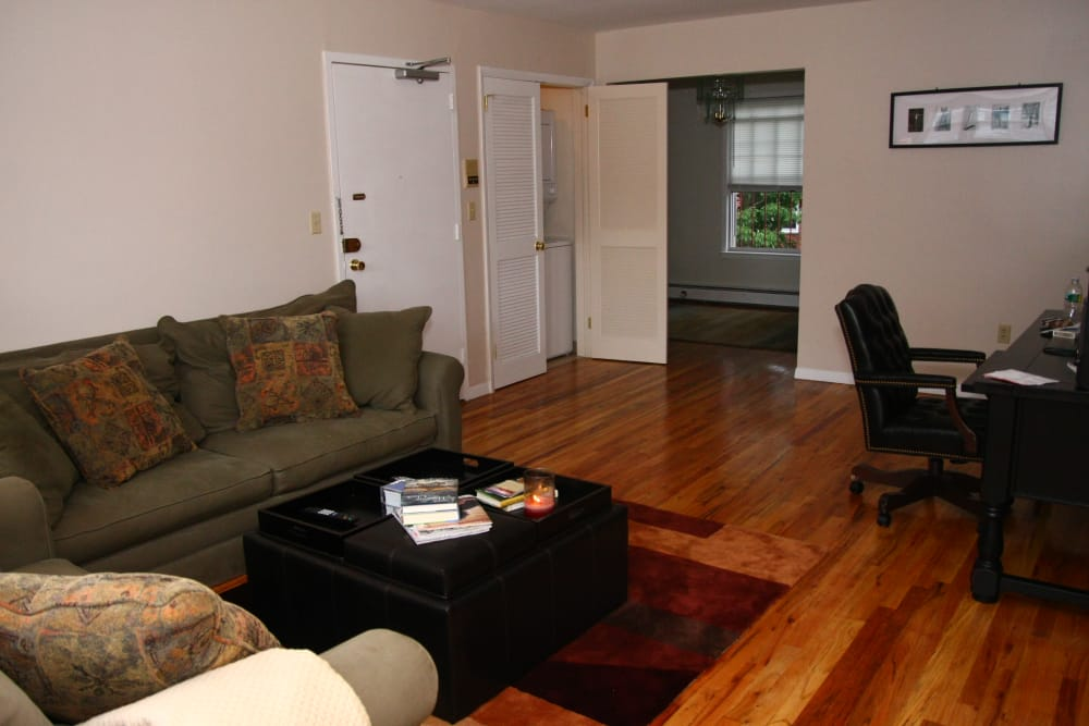 Handsome hardwood flooring in Jackson House Apartments homes