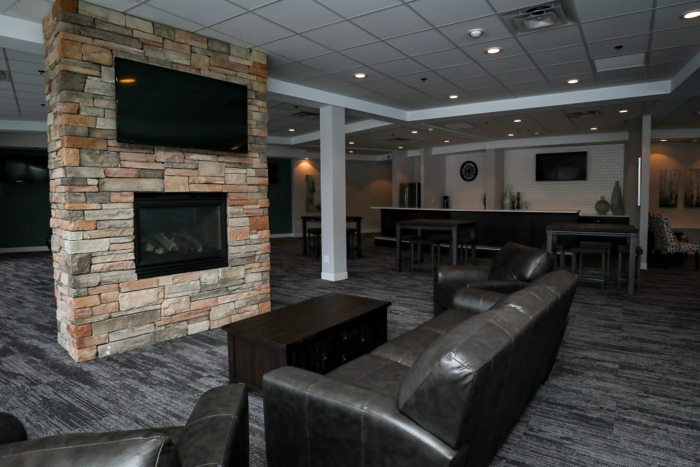 Clubroom with fireplace at Creekview Court in Getzville, NY