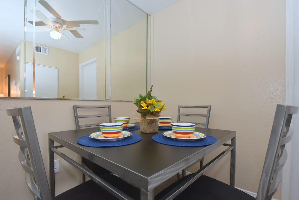 Dining room at Brookmore Hollow Apartments in Rosenberg, Texas