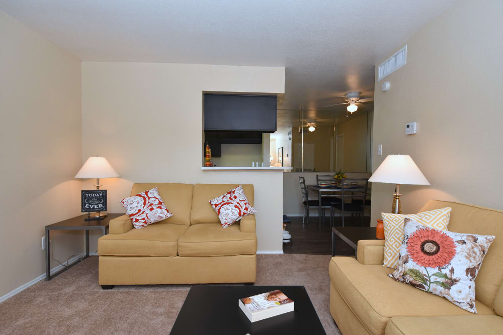 Well-appointed living room at Brookmore Hollow Apartments