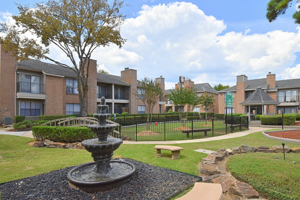 Deerbrook Garden Apartments water feature in Humble, TX
