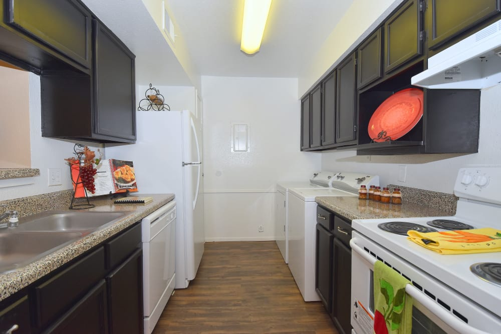 Updated kitchen at Deerbrook Garden Apartments in Humble, Texas