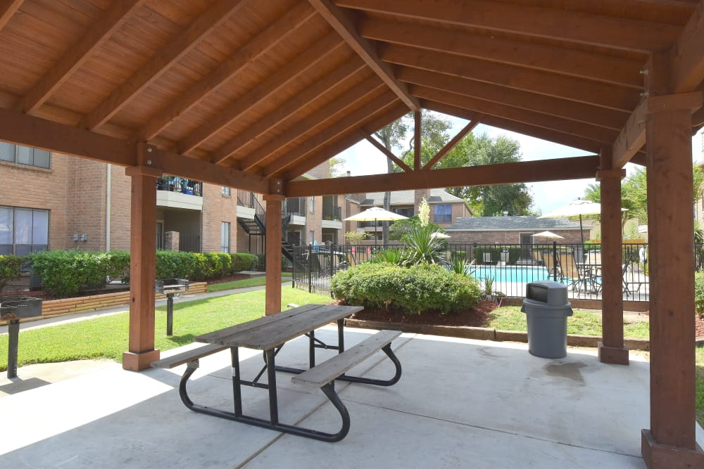 Covered sitting area at Deerbrook Garden Apartments in Humble, TX