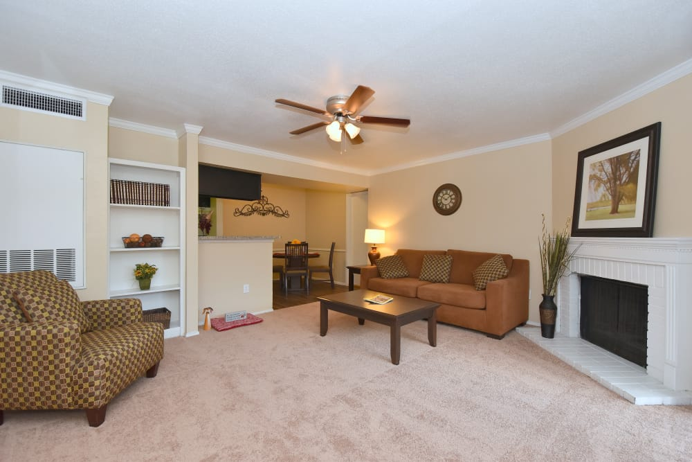 Well-lit living room at Deerbrook Garden Apartments in Humble, Texas