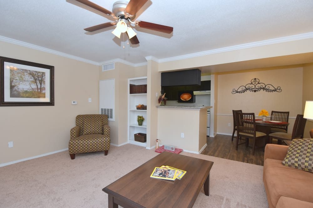 Spacious living room at Deerbrook Garden Apartments in Humble, Texas
