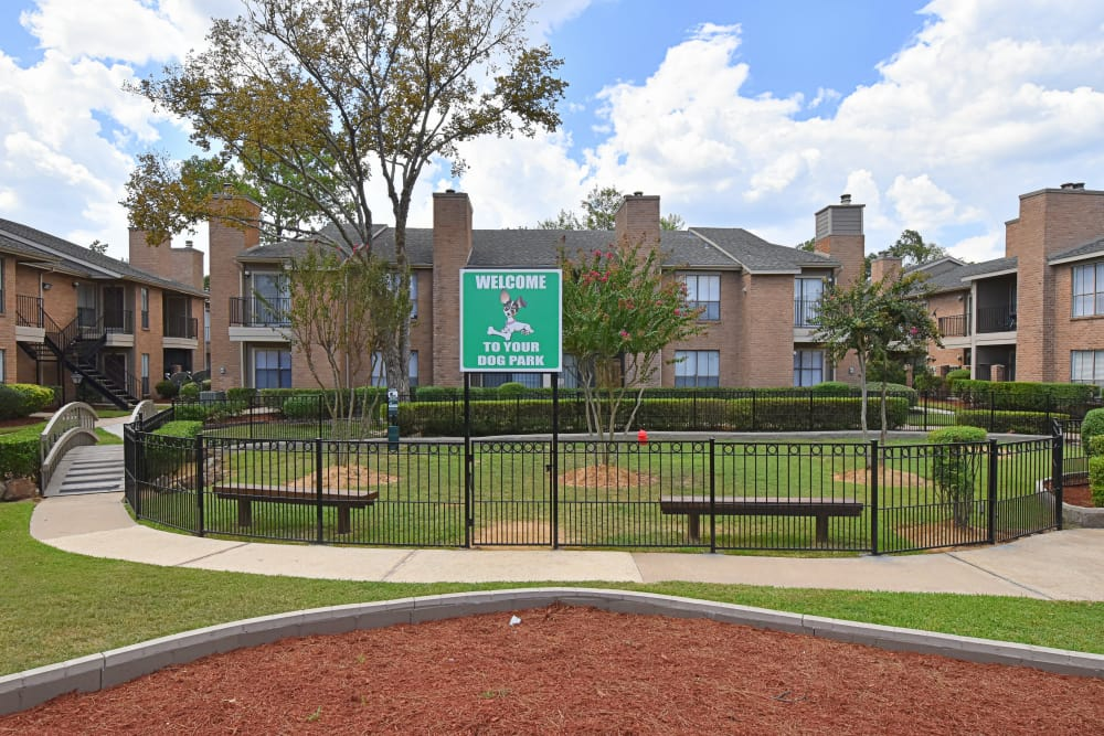 Deerbrook Garden Apartments dog park in Humble, TX