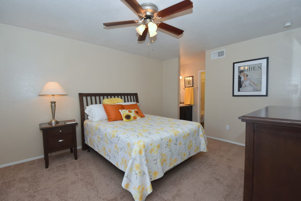 Guest bedroom at Deerbrook Garden Apartments in Humble, Texas